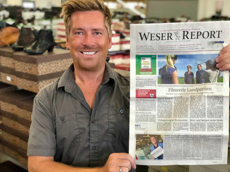 Presseartikel: Kay Zimmer Geschäftsführer von schuhplus - Schuhe in Übergrößen - im Weser Report Bremen