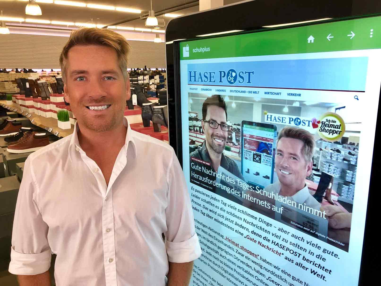 HASEPOST berichtet über Digital-Displays bei schuhplus
