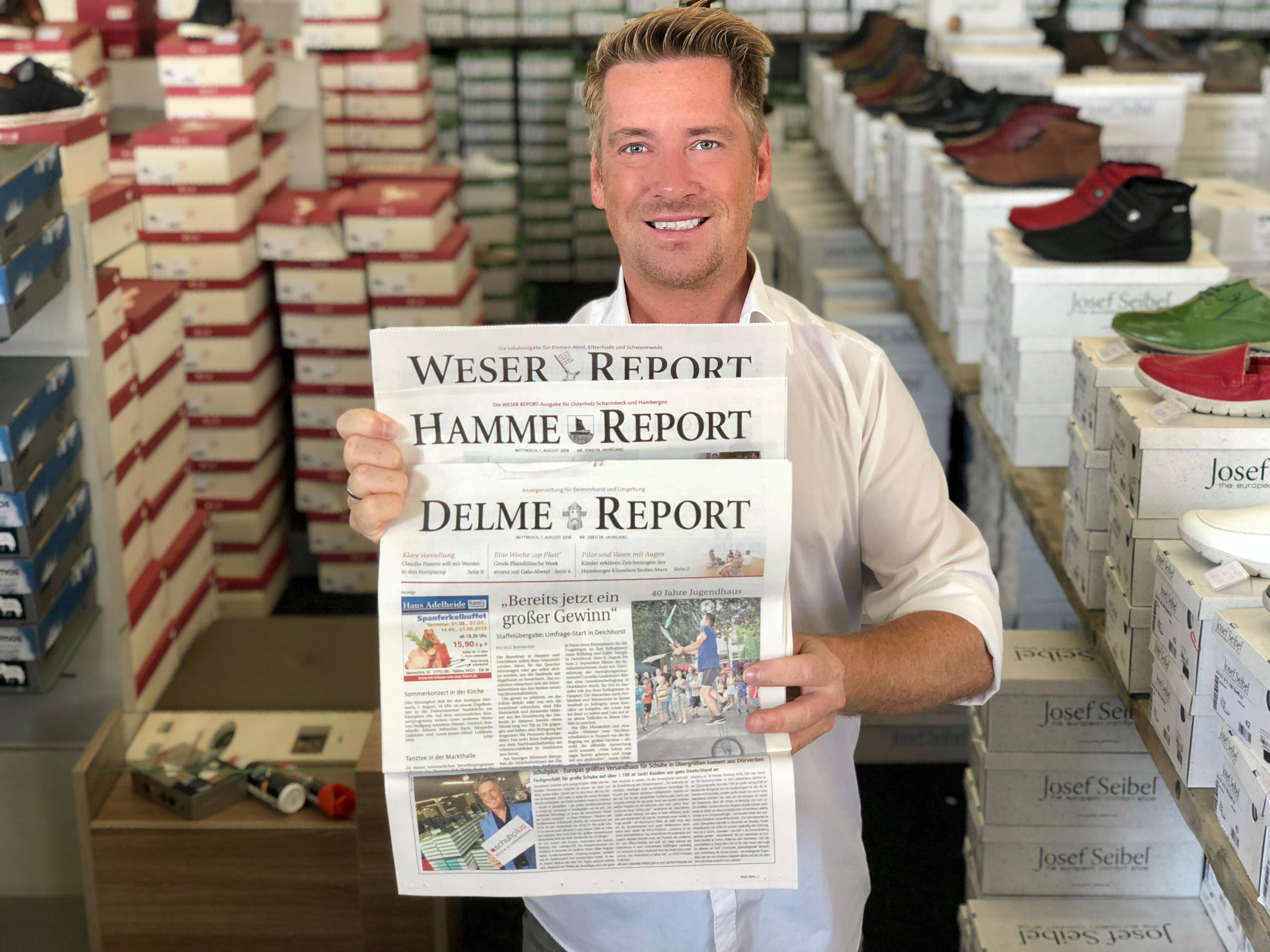 schuhplus im WESER REPORT, HAMME REPORT sowie DELME REPORT