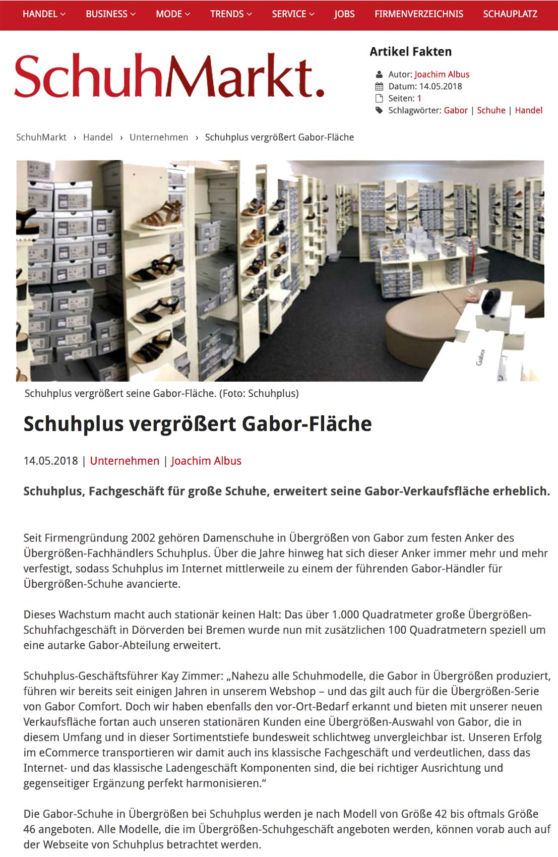 Bericht über schuhplus im Fachmagazin SchuhMarkt zur Gabor