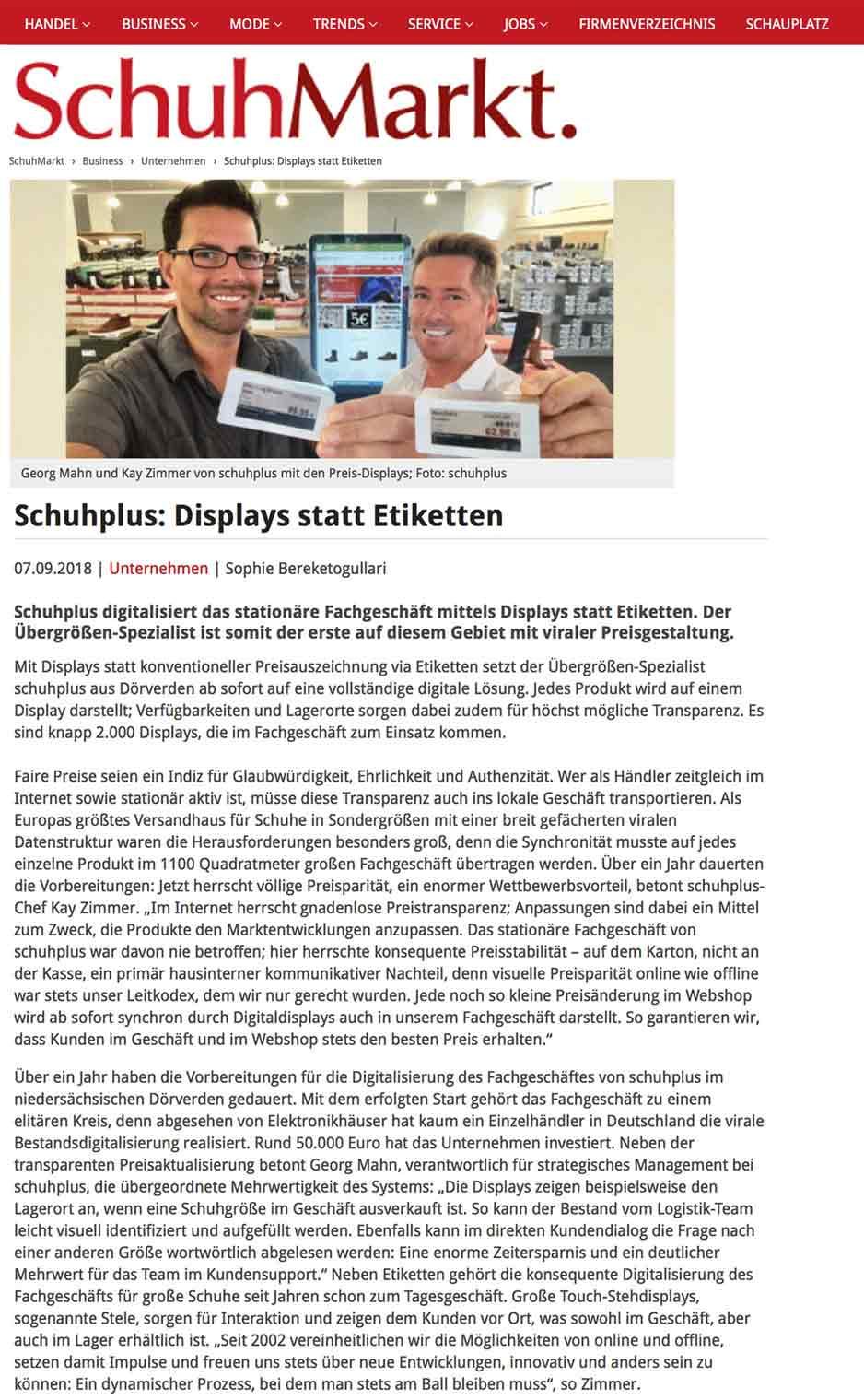 Pressebericht: Fachmagazin SchuhMarkt