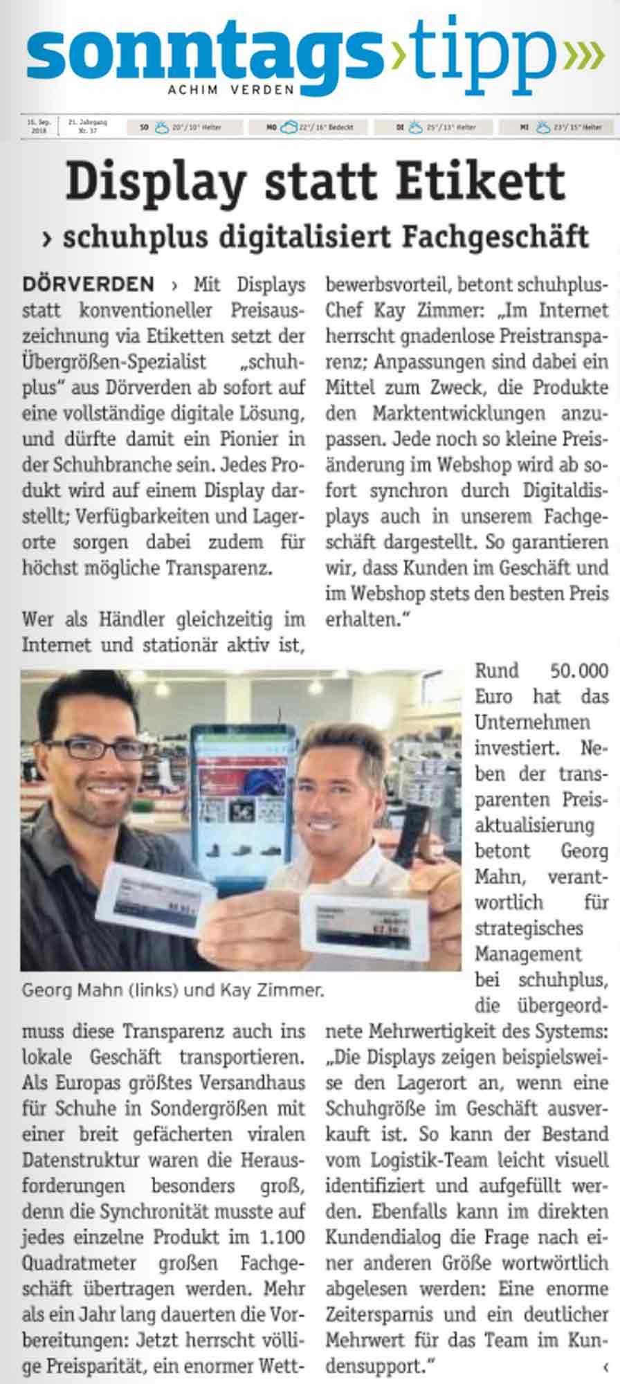 Artikel zum Thema Digital-Displays über schuhplus
